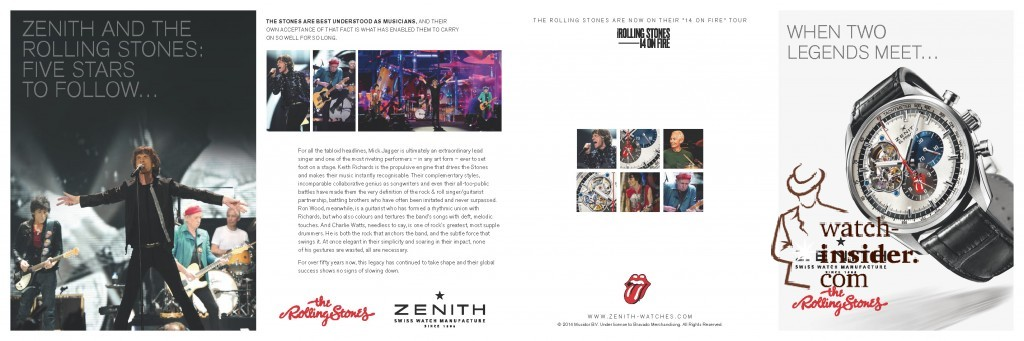The leaflet presenting the Zenith El Primero Chronomaster 1969 Tribute to The Rolling Stones