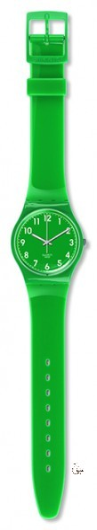 GG217 SMARAGD Model: Gent Dial: green with white Arabic numerals Case: solid green polished plastic Bracelet: green plastic