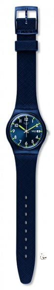GN718 SIR BLUE Model: Gent Dial: sun-brushed blue with green superluminova indexes, day/date window at 3 o'clock Case: solid matte blue plastic Bracelet: solid blue debossed silicone