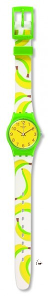LG127 BANANA SHAKE Model: Lady Dial: yellow with brown Arabic numerals Case: polished solid green plastic Bracelet: solid white silicone with multicolored print