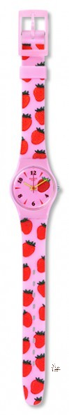 LP136 MISS FRAISE Model: Lady Dial: light pink with multicolored prints, Arabic numerals at 4, 6, 8, 10 and 12 o'clock Case: polished solid light pink plastic Bracelet: light pink silicone with multicolored print