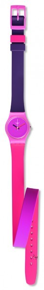 LP137 FUN IN PINK Model: Lady Dial: matte pink Case: polished light pink plastic Bracelet: 12 o'clock side in solid purple and light purple double-layer silicone with two loops, one coral and one purple, and 6 o'clock side in solid coral and pink double-layer silicone