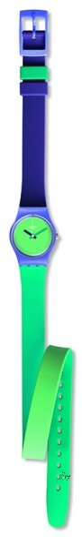 LV117 FUN IN BLUE Model: Lady Dial: matte light green Case: polished light purple plastic Bracelet: 12 o'clock side in solid purple and light purple double-layer silicone with two loops, one green and one purple, and 6 o'clock side in solid green and light green double-layer silicone