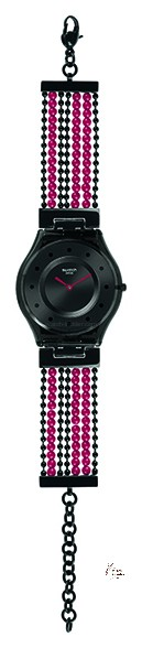 SFM130G BUBBLE CURTAIN Model: Skin Dial: sun-brushed black with printed black dots Case: transparent black plastic Bracelet: adjustable polished stainless steel 316L in black PVD with pearls in black PVD and red plastic