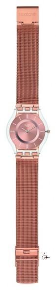 SFP115M HELLO DARLING Model: Skin Dial: sun-brushed pink gold color with white indexes Case: transparent plastic Bracelet: adjustable polished stainless steel 316L mesh in pink gold-colored PVD