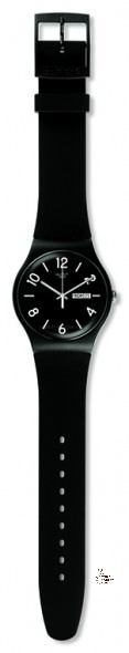 SUOB715 BACKUP BLACK Model: New Gent Dial: matte black with white indexes and white Arabic numerals at 2, 4, 6, 8, 10 and 12 o'clock, day/date window at 3 o'clock Case: solid matte black plastic Bracelet: solid black and white double-layer silicone