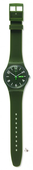 SUOG706 BACKUP GREEN Model: New Gent Dial: matte olive green with white indexes and white Arabic numerals at 2, 4, 6, 8, 10 and 12 o'clock, day/date window at 3 o'clock Case: solid matte olive green plastic Bracelet: solid olive green and light green double-layer silicone