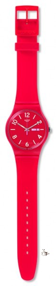 SUOR705 BACKUP RED Model: New Gent Dial: matte red with white indexes and white Arabic numerals at 2, 4, 6, 8, 10 and 12 o'clock, day/date window at 3 o'clock Case: solid matte red plastic Bracelet: solid red and light rose double-layer silicone