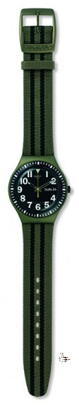 YGM7000 THE CAPT Model:Irony Big Dial: matte black with luminous white printing, day/date window at 3 o'clock Case: anodized green aluminum Bezel: anodized black aluminum with white print Bracelet: green and black fabric strap