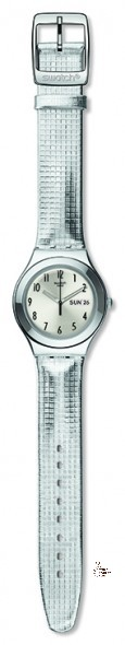 YGS773 MOON PLAIDED Model: Irony Big Dial: sun-brushed silver color with gray Arabic numerals, day/date window at 3 o'clock Case: polished stainless steel 316L Bezel: polished stainless steel 316L Bracelet: silver-colored synthetic leather