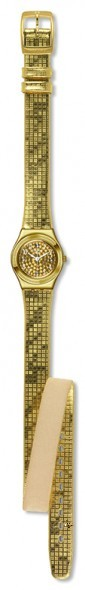"""YSG135 DANCE FLOOR Model: Irony Lady Lady Dial: gold color with """"perlage"""" effect, white Arabic numerals and transparent white crystals at 3, 6, 9 and 12 o'clock Case: polished stainless steel 316L in gold-colored PVD Bezel: polished stainless steel 316L in gold-colored PVD with engravings Bracelet: gold-colored double tour synthetic leather"""