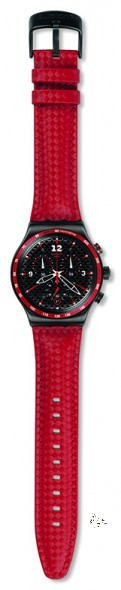 YVM401 ROSSO FUOCO Model: Chrono Dial: black with white Arabic numerals at 3, 9 and 12 o'clock, date window at 6 o'clock Case: brushed stainless steel 316L in gun metal colored PVD Bezel: brushed stainless steel 316L in gun metal colored PVD with red and white printings Bracelet: textured red leather
