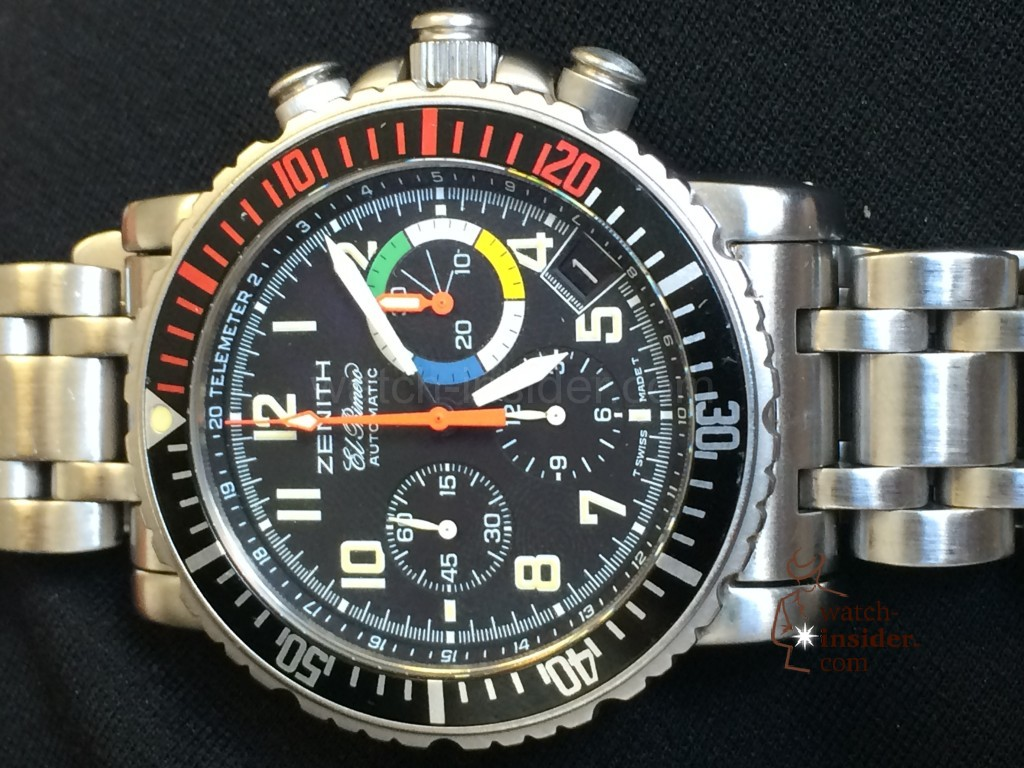 Zenith Rainbow Chronograph Fly Back from 1997 vs. Zenith El Primero Stratos Flyback Rainbow from 2014