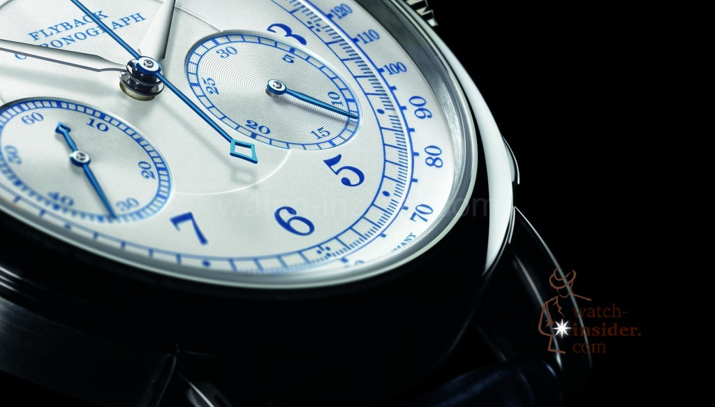 A. Lange  Söhne 1815 CHRONOGRAPH. This special white-gold model features blue numerals and a pulsometer scale.