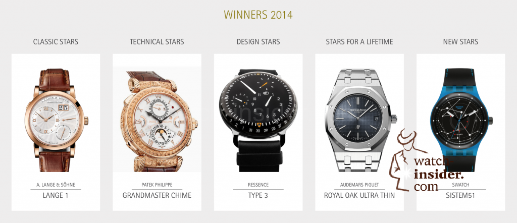 Watchstars Awards 2014. These are the five winners: A. Lange  Söhne, Patek Philippe, Ressence, Audemars Piguet and Swatch