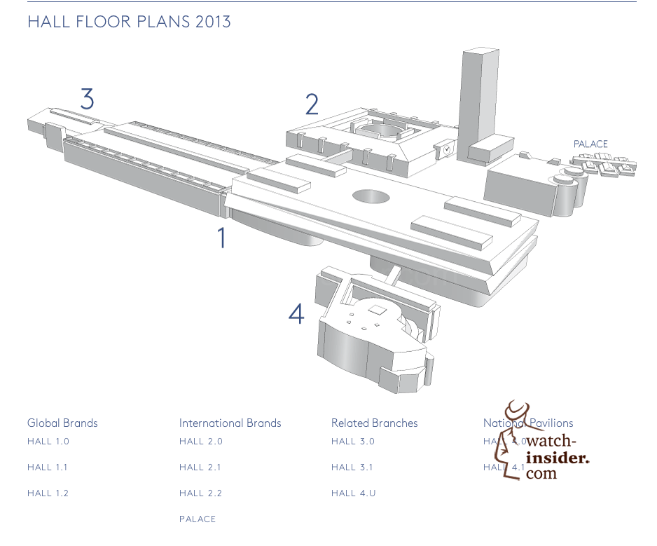 These are the just released, brand new hall floor plans of Baselworld 2013