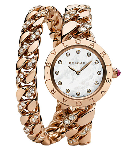 BVLGARI White Mother of Pearl Diamond Dial Quartz Ladies Watch