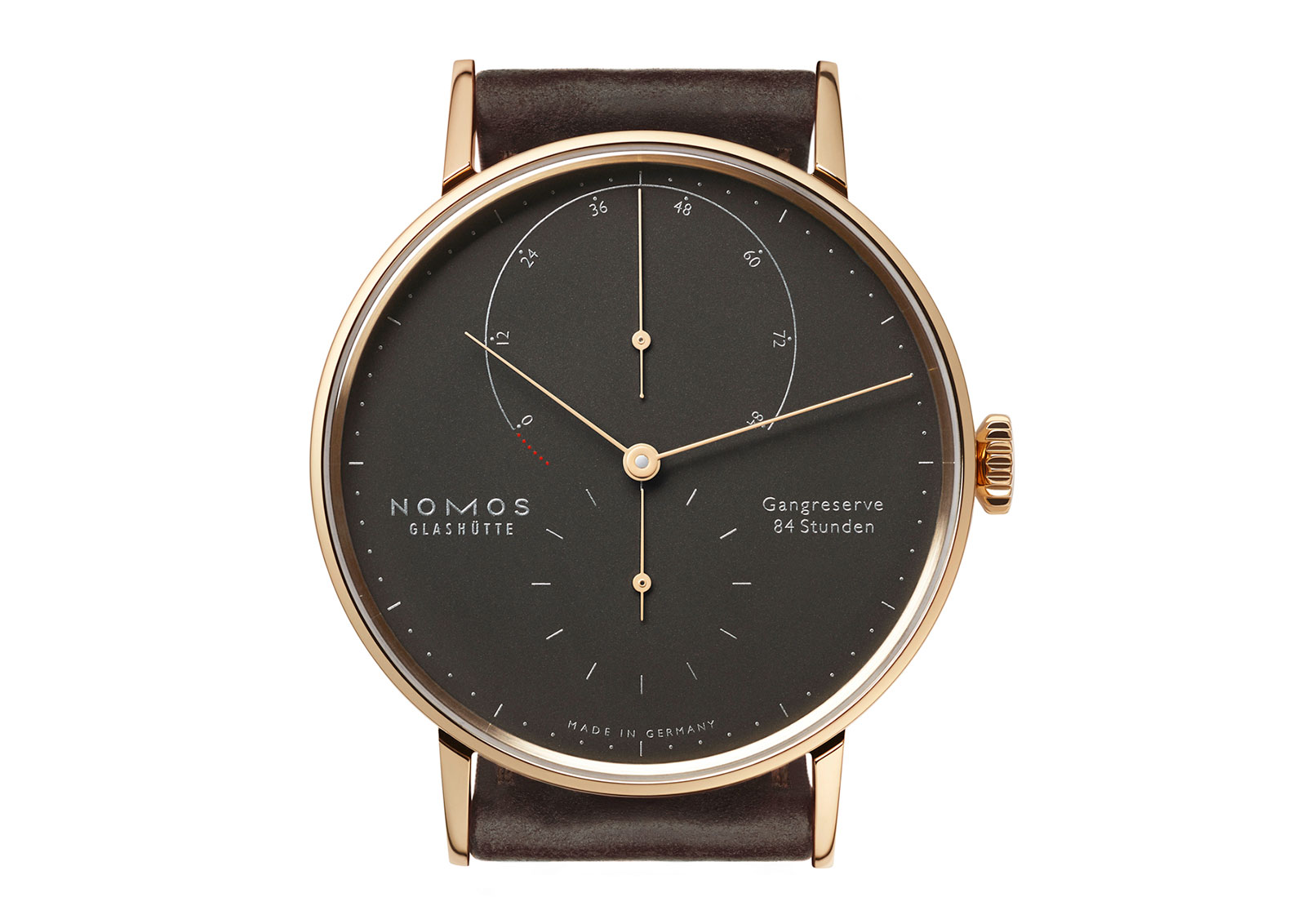 Front  of Nomos Lambda 39mm edition rose gold watch