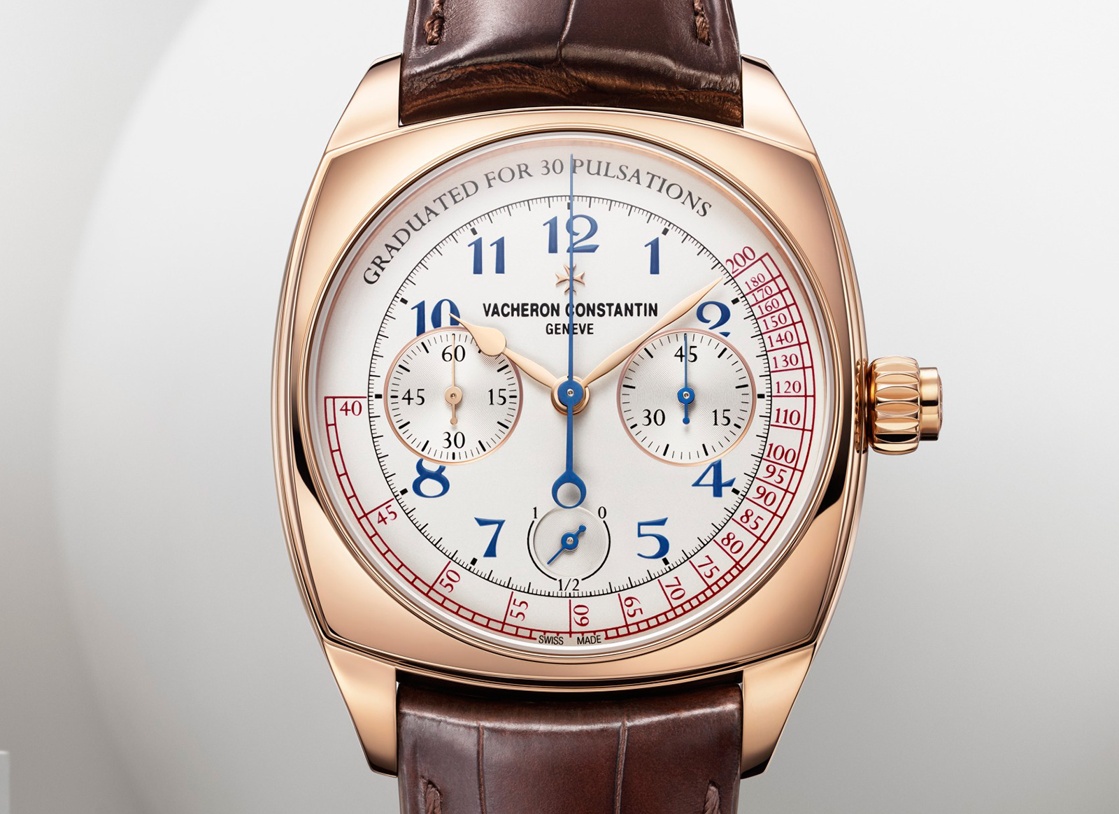 Front of Vacheron Constantin 18k rose gold Harmony Chronograph Watch