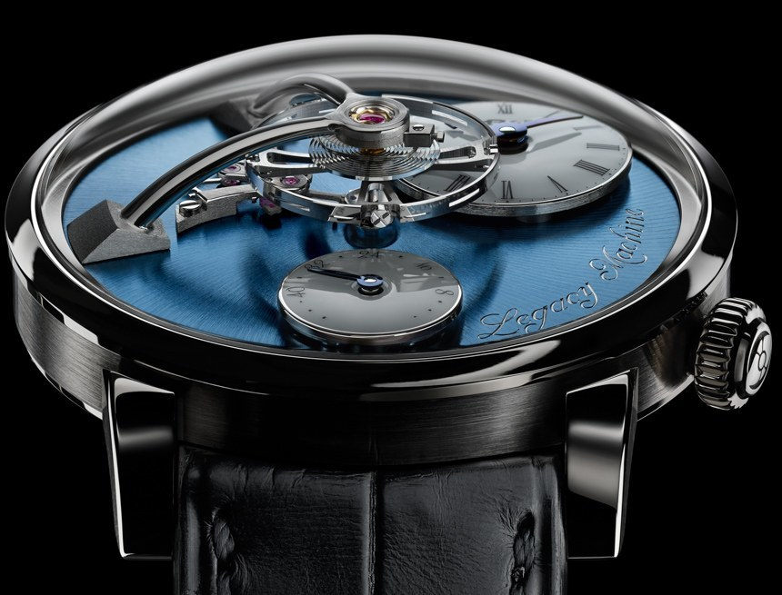 Front of MB&F LM101 with blue dial