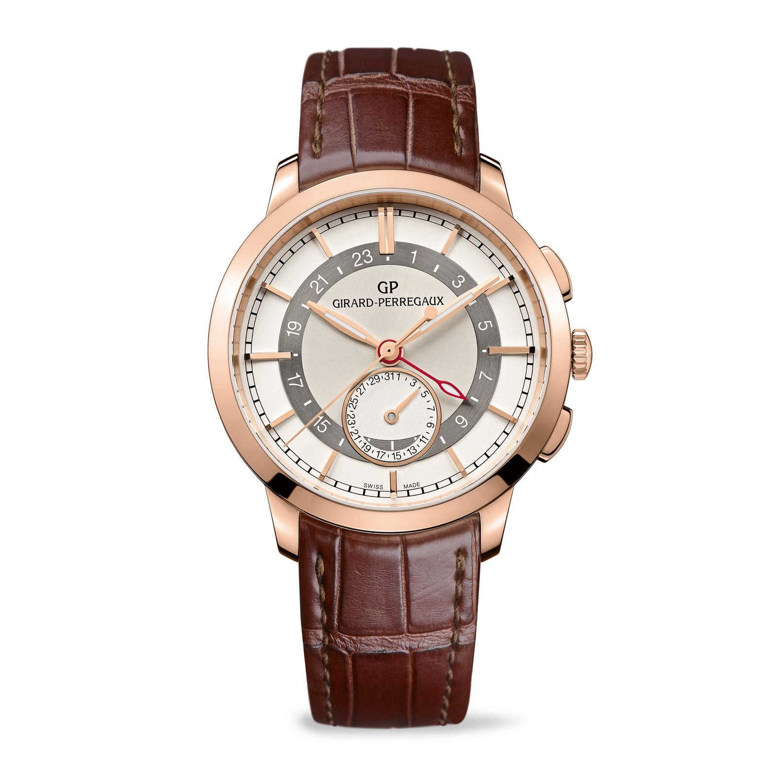 Watch review girard perregaux 1966 dual time with 18k rose gold best swiss watch brands review for Girard perregaux