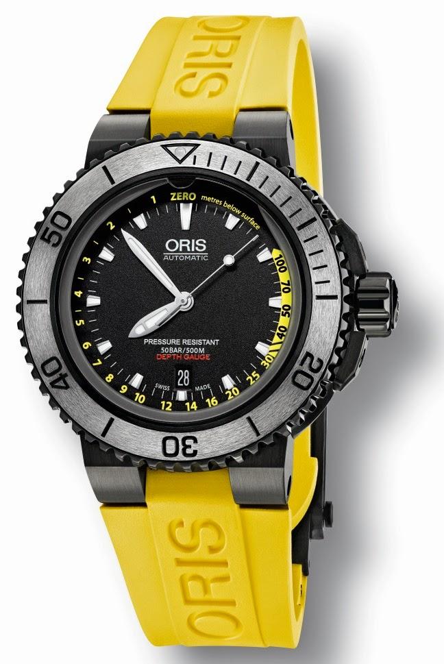 Oris Aquis Date yellow strap watch