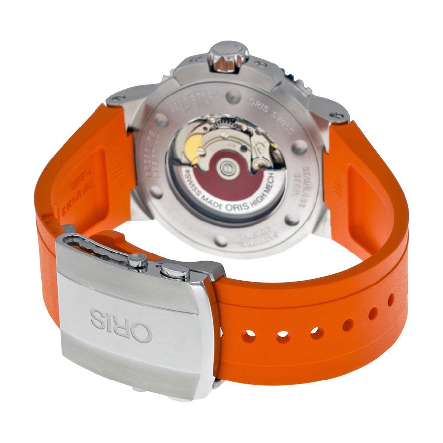 Oris Aquis Date orange strap watch caseback