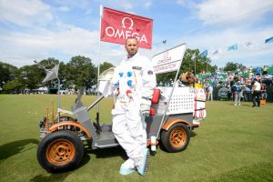 Rory and Sergio take lunar rover for a spin in Omega Speedmaster stunt