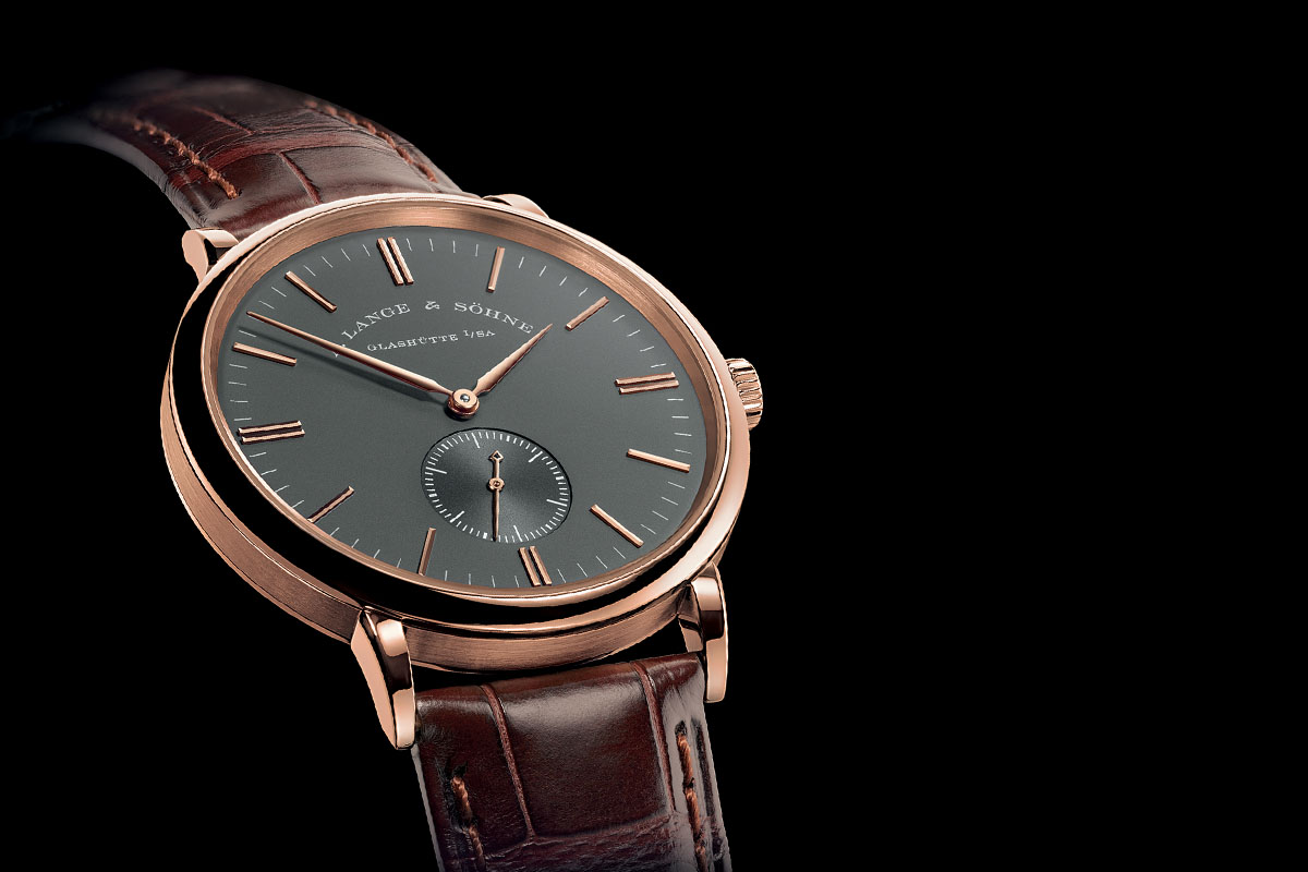 Side of Nomos Lambda 39mm edition rose gold watch