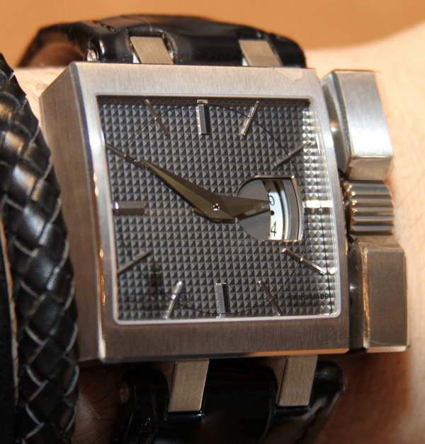 Front of De Grisogono Otturatore white gold watch