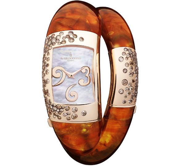 De Grisogono Lovivi jewelry watch set with brilliant-cut brown diamonds