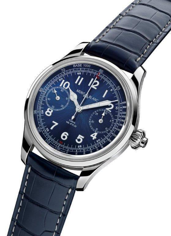 Side of Montblanc 1858 Chronograph Tachymeter Blue watch