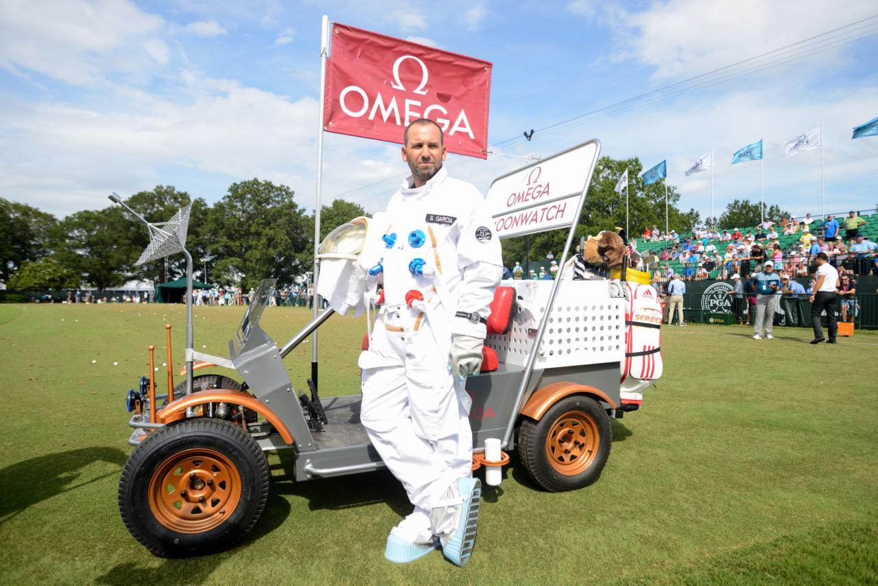 Sergio Garcia Standing Next to OMEGA Lunar Rover